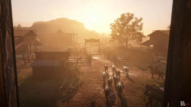 RedDead2 GameplayVideo Landscape Town Farm Cow