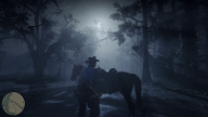 RDR2 GameplayVideoPart2 25 Radar ArthurMorgan Horse Night Forest
