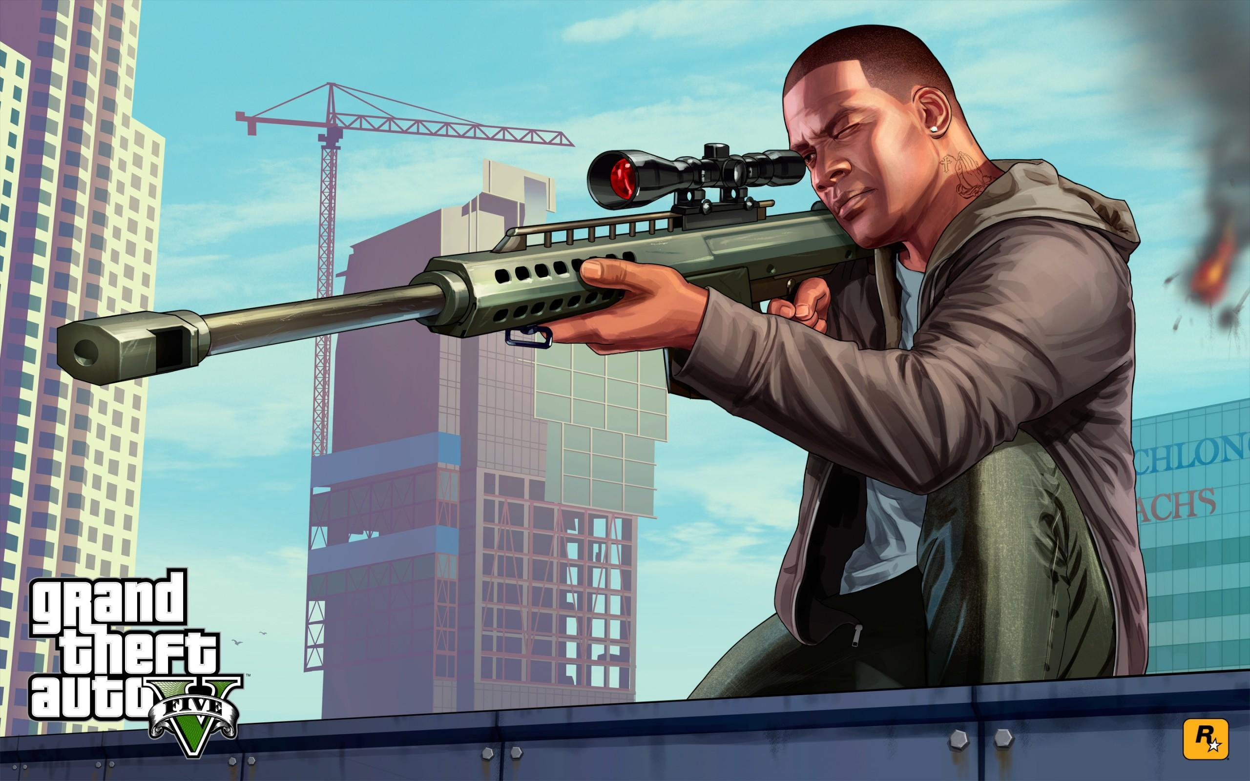 GTA V Artwork Franklin Sniping