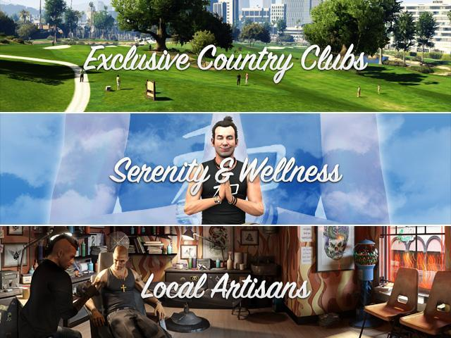 GTA V Official Site Update: Exclusive Country Clubs, Local Artisans, Serenity & Wellness...