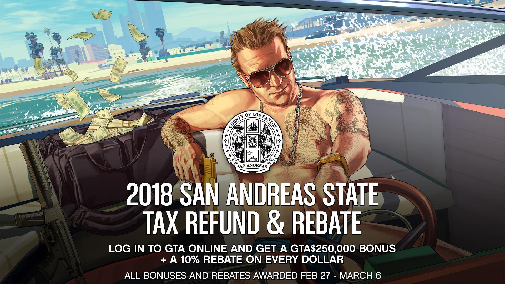 The 2018 San Andreas State Tax Refund and Rebate in GTA Online