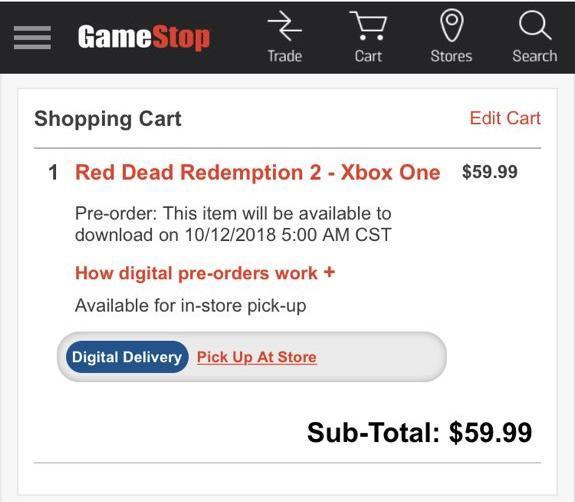 gamestop red dead redemption 2