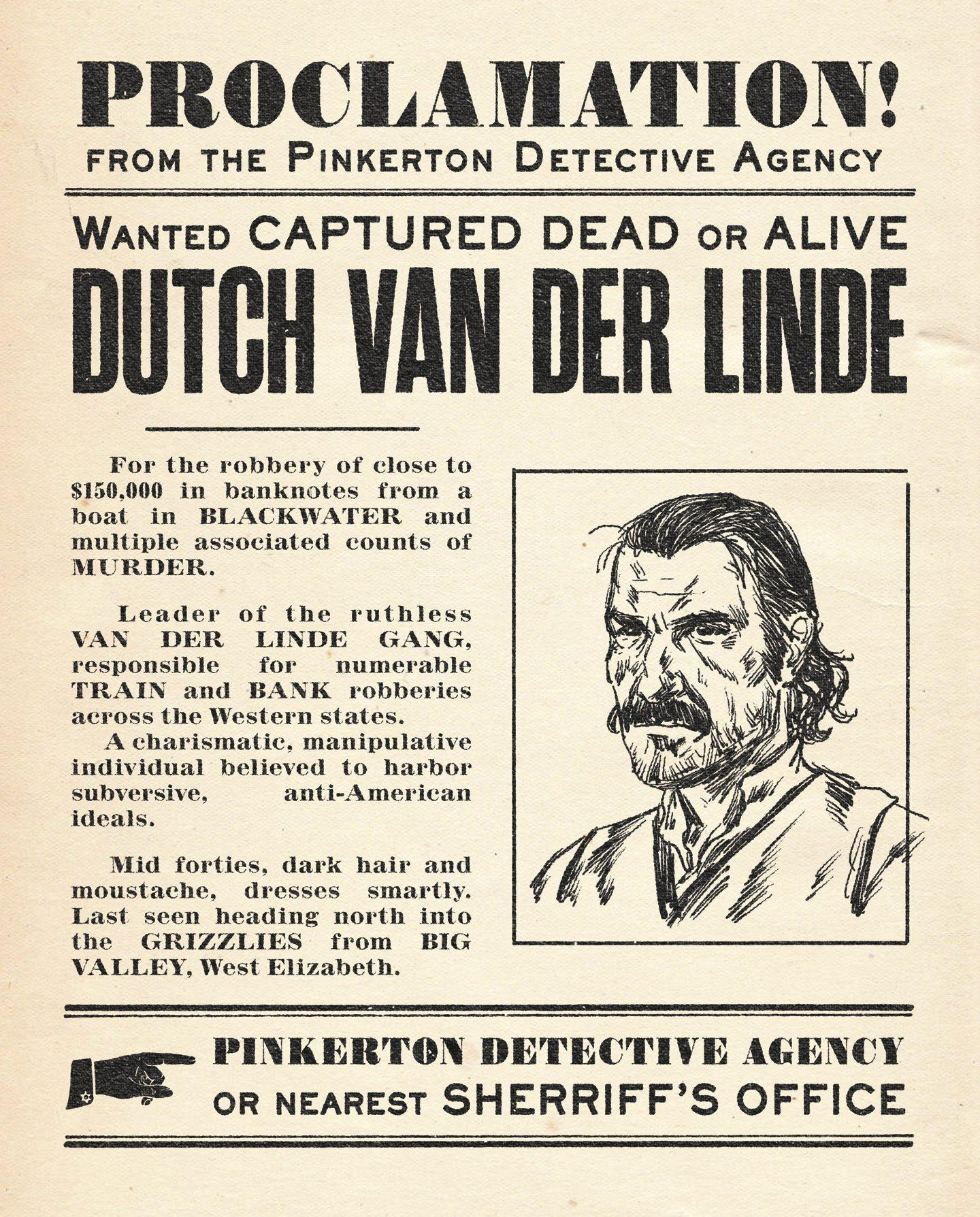 Rockstar Releases a Red Dead Redemption 2 Dutch Bounty Wanted Poster