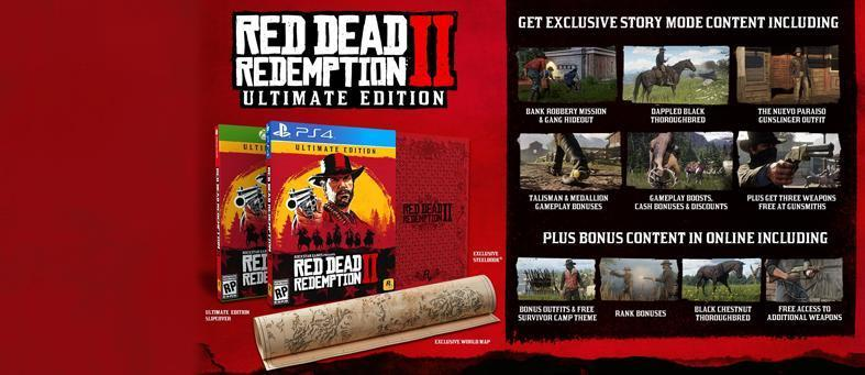 Details for the Special Edition and Ultimate Edition of Red Dead Redemption 2, along with extra pre-order bonuses and real-world collectibles inspired by the game.